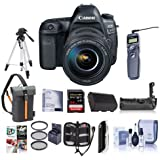 Canon EOS-5D Mark IV Digital SLR Camera Body Kit EF 24-105mm f/4L IS II USM Kit Bundle 64GB U3 SDXC Card, Holster Case, Tripod, Spare Battery, Battery Grip, Software Package More
