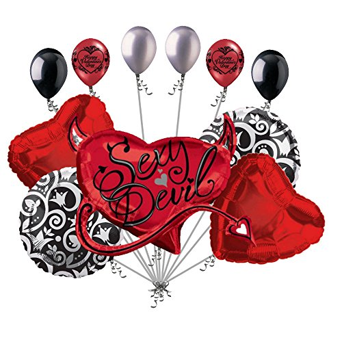 11 pc Red Sexy Devil I Love You Balloon Bouquet Mine Hug Kiss Valentines Day Cat Sweetest