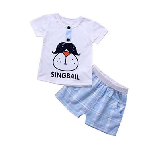 cc51683156ac Amazon.com  Fanteecy Summer Toddler Baby Boy Clothes Cartoon Print T ...