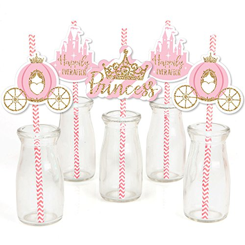 Little Princess Crown - Paper Straw Decor - Pink and Gold Princess Baby Shower or Birthday Party Striped Decorative Straws - Set of 24 ()