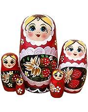 Matroschka Russische nesting houten speelgoedpop geschenk handgemaakt meisje matrjoschka kind speelgoed