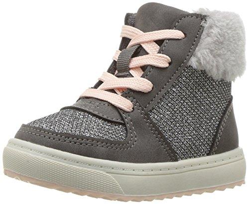 Oshkosh B'Gosh  Girls' Sporty High Top Sherpa Sneaker Fashion Boot, Grey, 6 M US Toddler (Girls Boot Sneakers)