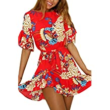 YMING Women's Summer Short Sleeve Floral Printed Casual Boho Dress with Pocket