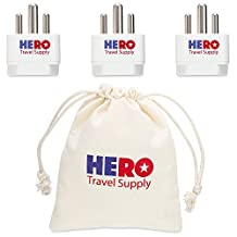 Premium USA to India Power Adapter Plug (Type D, 3 Pack, Grounded) - Individually Tested in the USA by Hero Travel Supply - Includes Free Ebook & Cotton Carry Bag