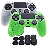 YoRHa Studded Silicone Cover Skin Case for Sony PS4/slim/Pro controller x 2(white+green) With Pro thumb grips x 8