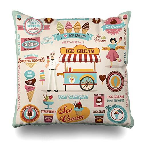 DIYCow Throw Pillow Cover Pillowcase Frozen Brown Cone Ice Cream Food Drink Retro Sundae Parlor Dessert Sweet Design Home Decor Design Square Size 16