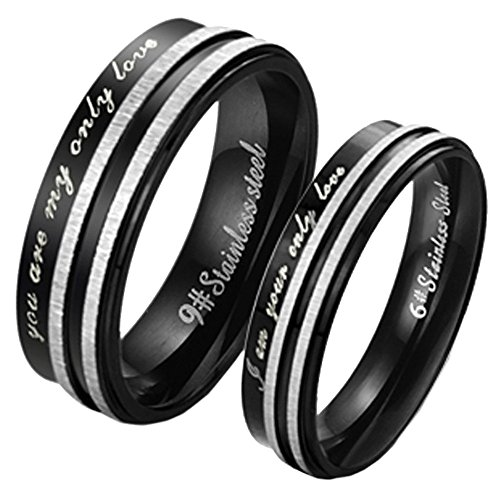 """UM Jewelry Black Couples Ring Men's and Women's Stainless Steel Engraved Band """"You Are My Only Love"""""""