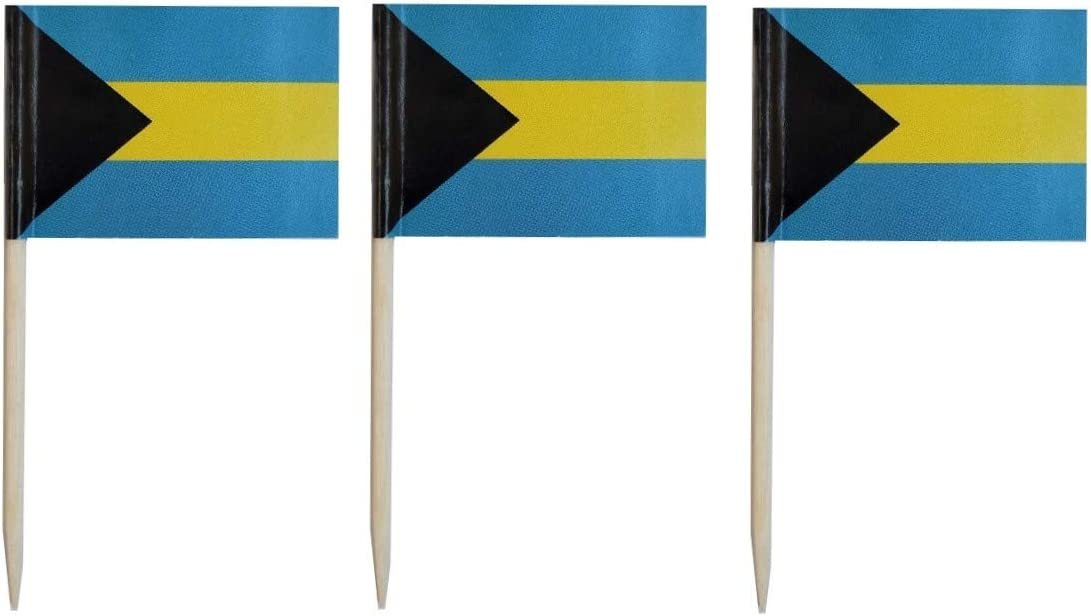 JAVD CYPS 100 Pcs Bahamas Flag Bahamian Toothpick Flags, Small Mini Stick Cupcake Toppers Bahamas Flags,Country Picks Party Decoration Celebration Cocktail Food Bar Cake Flags