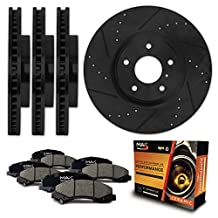 Front + Rear [ELITE SERIES] Black Anti-Rust Slotted & Drilled Rotors and Ceramic Pads Brake Kit KT024083 | Fits: 2002 02 2003 03 2004 04 VW Jetta w/ 280mm Diameter Front Rotors