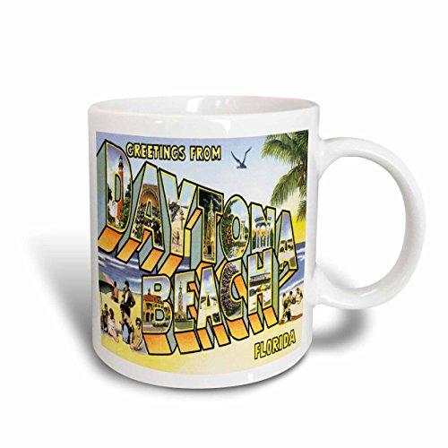 3dRose Greetings From Daytona Beach, Florida Bold Lettering with City Scenes Ceramic Mug, - Beach Daytona Outlets Florida