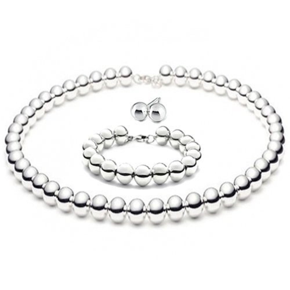 7c8d56528 Amazon.com: 8mmLARGE Italian Sterling Silver BALL Bead Necklace 16