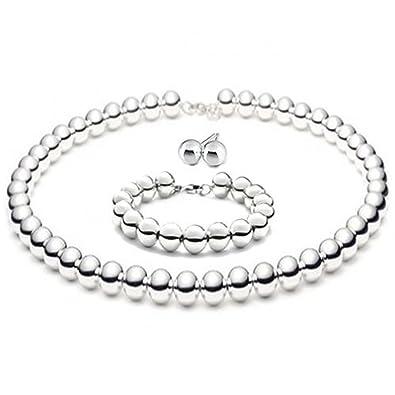 63251bc09 Amazon.com: 8mmLARGE Italian Sterling Silver BALL Bead Necklace 16