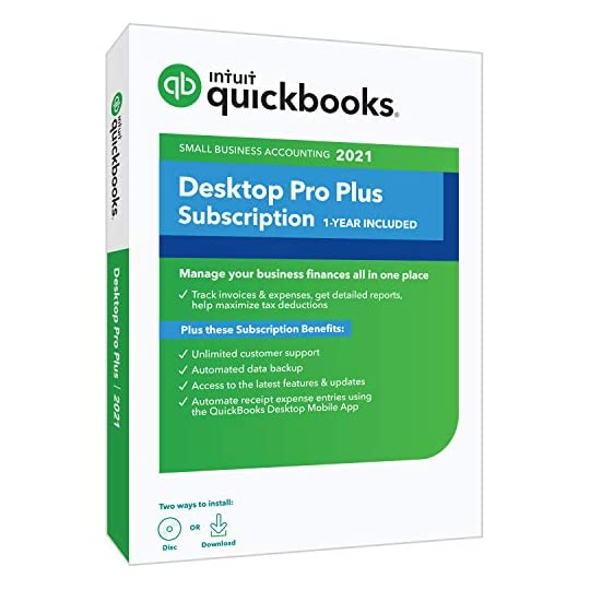 QuickBooks Desktop Pro Plus 2021 Accounting Software for Small Business 1-Year Subscription with Shortcut Guide [PC Disc…