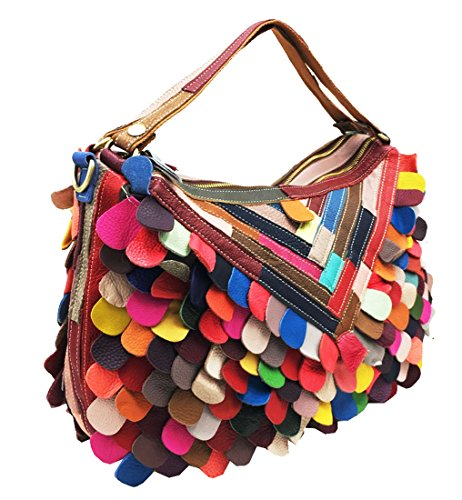 - Heshe Women's Multi-color Leather Handbags Totes Top Handle Bag Shoulder Bags Ladies Purses Cross Body Bag (Colorful)