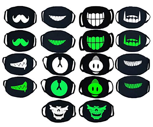 9 Pack Cool Luminous Unisex Cotton Blend Anti-Dust Face Mouth Mask, Kawaii Muffle Panda Mask Smiley mask Pollen Mask Black for Man, Woman, kids -