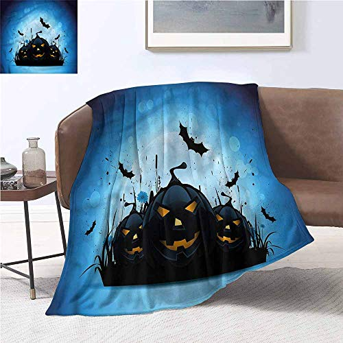 DILITECK Fashion Throwing Blanket Halloween Scary Pumpkins in Grass Anti-Static Throw W54 xL84 Traveling,Hiking,Camping,Full Queen,TV,Cabin -