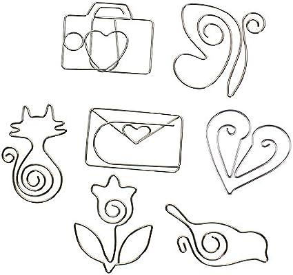 VANKER - Clips de papel, diseño animal,gato,corazón,cámara,metal,pájaro,flores