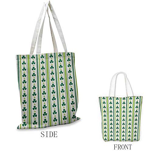 Floral Portable shopping bag Clovers Vertical Lines and Dots Irish Traditional Floral Pattern Convenient; save space W15.75 x L17.71 Inch Lime Green Dark Green -