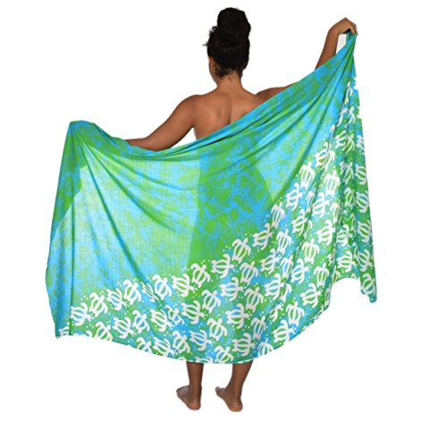 [Casual Movements Women's Plus Size Turtle Swimsuit Coverup Lime/Turquoise] (Turtles Suit)