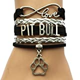 DOLON Infinity Love Pitbull Bracelet Paw Charm Friendship for Pet Lover Gift