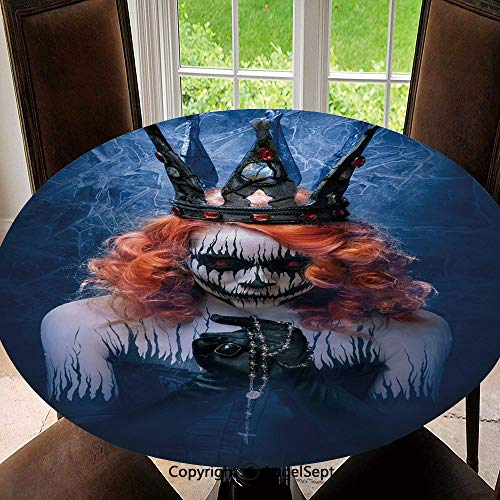 Elastic Edged Round Tablecloth Queen of Death Scary Body Art Halloween Evil Face Bizarre Make Up Zombie Polyester Washable Table Cover Kitchen Restaurant Party Decoration, Round - 63