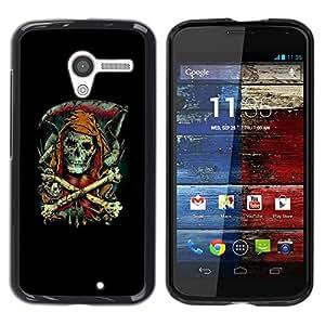 // PHONE CASE GIFT // Duro Estuche protector PC Cáscara Plástico Carcasa Funda Hard Protective Case for Motorola Moto X 1 1st GEN I / Parca - Goth Esqueleto /