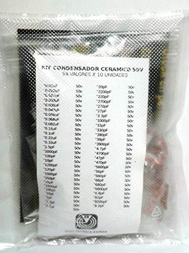 Electronica Rapida Kit Condensador ceramico 54 valores x 10 Unidades 50v