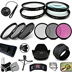 Pro 58mm Lens Filters + 58mm Lens Hood Kit Including: 58mm Close-up Macro Filters (+1 +2 +4 +10) + 58mm Hd Filters (Uv Cpl Fld) + 58mm Nd Filters (Nd2 Nd4 Nd8) + 58mm Hard Soft Lens Hood + More