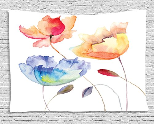 Watercolor Flower Decor Tapestry by Ambesonne, Summer Flowers in Retro Style Painting Effect Nature is a Blessing Art, Wall Hanging for Bedroom Living Room Dorm, 80 X 60 Inches, Pink Yellow Blue (Pink Retro Flowers)