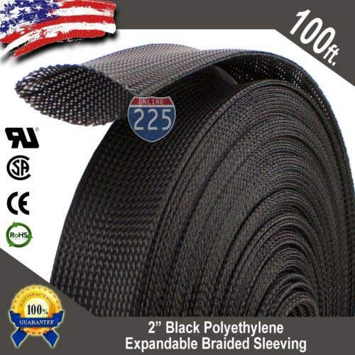 - Splash deal 100 FT. 2'', Black Expandable Wire Cable Sleeving Sheathing Braided Loom Tubing A, unused, unopened, Undamaged Item