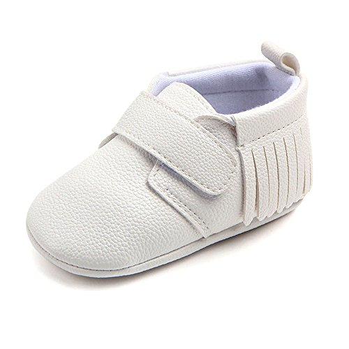 Antheron Infant Moccasins - Unisex Baby Girls Boys Tassels Soft Sole Toddler First Walker Newborn Crib Shoes(White,0-6 Months) by Antheron