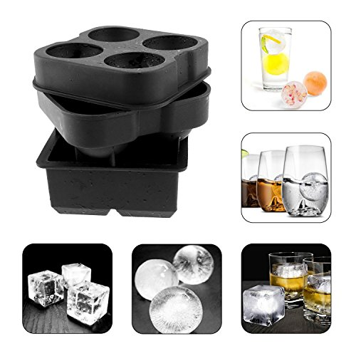 Sanmersen Ice Cube Trays Silicone Combo (Set of 2), Sphere Ice Ball Maker with Lid & Large Square Molds, Reusable and BPA Free- Enjoy FIFA World Cup Fathers Day Gift