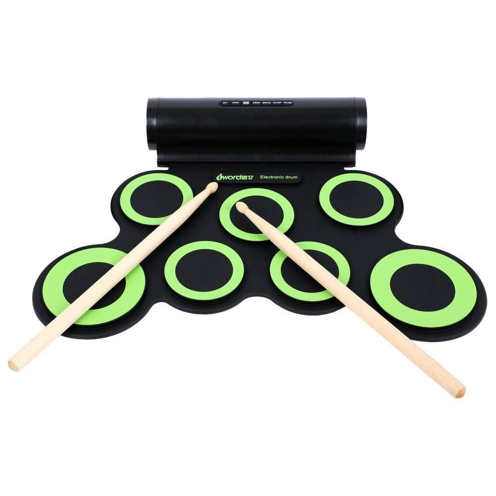 Electronic Roll Up MIDI Drum Kit DTX Game With 7 Silicon Pads Headphone Jack Electronic Drum Set Roll Up Practice MIDI Drum Kit Support Built-in Speaker Sustain Pedals Drum Sticks Recording Playback F by Xiejuanjuan