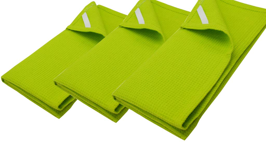 8 Pack waffle Kitchen Towels Lime Green 18x26 Inches- Pure Cotton, Absorbent Waffle Weave offered by Linen Clubs.