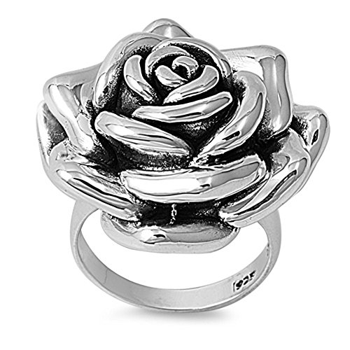 Large Antiqued Rose Flower Wide Huge Ring .925 Sterling Silver Band Size 7 - Antiqued Rose Ring