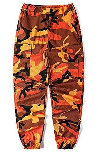 LifeShe Men's Casual Slim Fit Camo Jogger Cargo Pant (Large, Orange)
