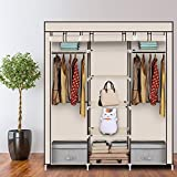 walk in closet systems Acazon Non-Woven Fabric Clothes Closet Durable Portable Double Rod Storage Organizer Wardrobe (US Stock) (Beige)