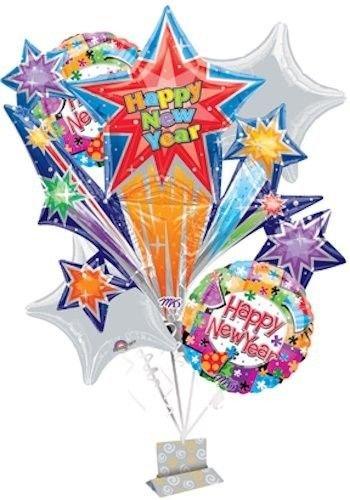 6 pc Happy New Year Star Burst Celebration Balloon Bouquet Decoration 2018 (Cristal Champagne Gift Baskets)