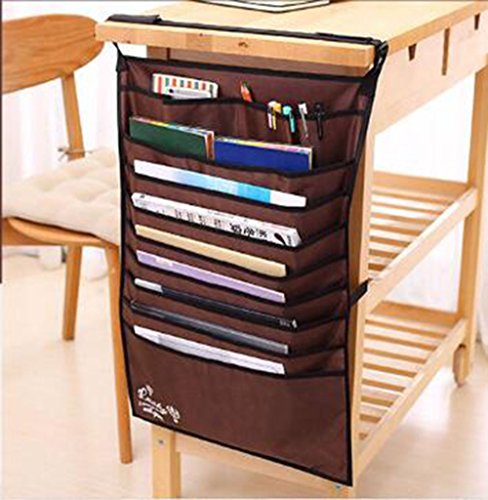 8 Letter Desktop Organizer Pocket (Adan Hanging Bag 10 Slot Heavy-Duty Oxford Fabric File Organizer Book Pockets Paper Sorter Pencil Staionery Holder 1Pack Multifunctional Adjustable Desk-Side(Brown))