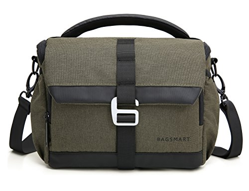BAGSMART DSLR/SLR Camera Shoulder Bag Compact Gadget Bag with Thicken Top Handle & Adjustable Shoulder Strap, Green by BAGSMART