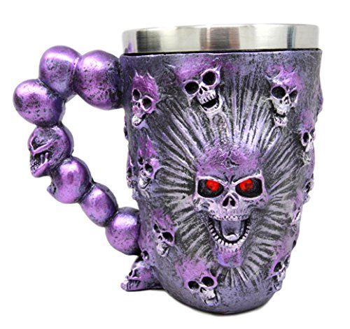Atlantic Collectibles Ossuary Metallic Purple Protruding Skull With Bloodshot Eyes Beer Stein Tankard Coffee Cup Drink Mug 12oz (Skull Stein)