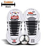Coolnice® No Tie Shoelaces for Teenagers Outdoor Sports 18pcs- Environmentally Safe silicone - Lazy Shoestrings-Black Color