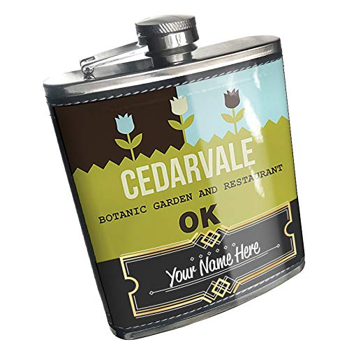Cedarvale Bar - Neonblond Flask US Gardens Cedarvale Botanic Garden and Restaurant - OK Custom Name Stainless Steel
