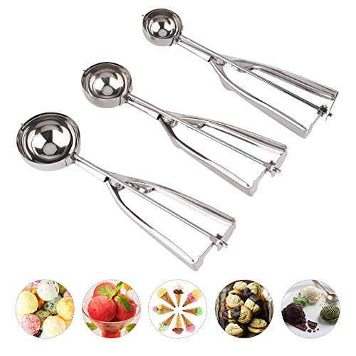 Cookie Scoop Set, Hisome 3 PCS Ice Cream Scoop Stainless Steel Melon Baller Multiple Size 18/8 Kitchen Scoop with Trigger for Baking, Fruit Salad, Cookie, Muffin