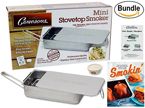Cameron's Stovetop Smoker - The Original Gourmet Mini Stainless Steel Smoker w/ Wood Chips - Works Over Any Heat Source, Indoor/Outdoor - Plus Smokin': Recipes for Your Stovetop Smoker Book (Stainless Steel Stovetop Smoker)