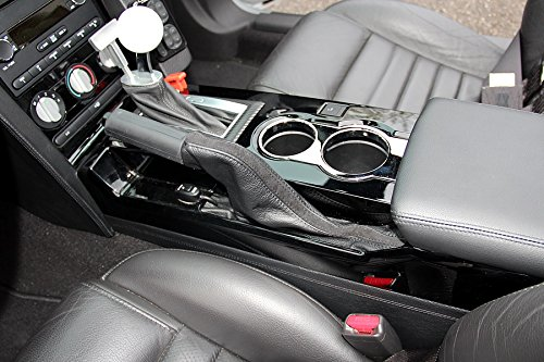 RedlineGoods Handbremsmanschette kompatibel mit Mustang 2005-09 Leder Schwarz Stich Rot