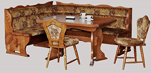 3232.2184: Kücheneckbankgruppe - Eckbank, ausziehbarer Tisch, 2 Stühle - Eckbankgruppe - Eiche rustikal
