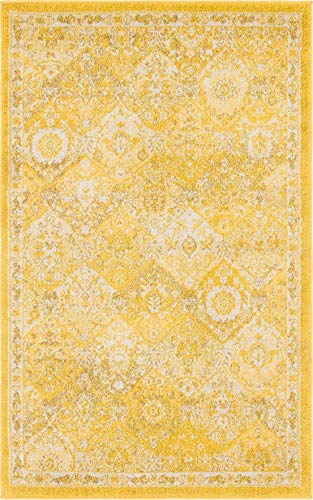 Unique Loom Penrose Collection Distressed Traditional Vintage Yellow Area Rug (3' 3 x 5' 3) (Large Rug Yellow Area)