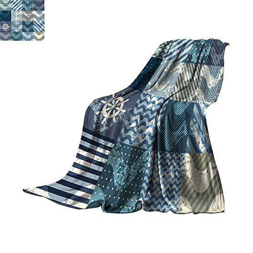 Satin Coverlet Squares (Nautical Coverlet Marine Theme Wave Patterns in Patchwork Style Boxes Squares Striped Anchor Print Fleece Blanket Throw Blue Beige Throw Blanket 60
