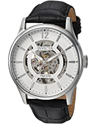 Invicta Mens Objet D Art Automatic Stainless Steel and Leather Casual Watch, Color:Black (Model: 22594)